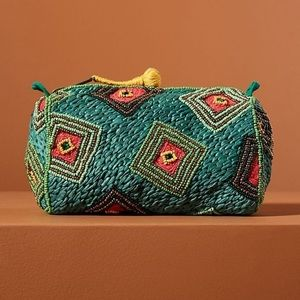 Anthropologie Beaded Geometric Pouch